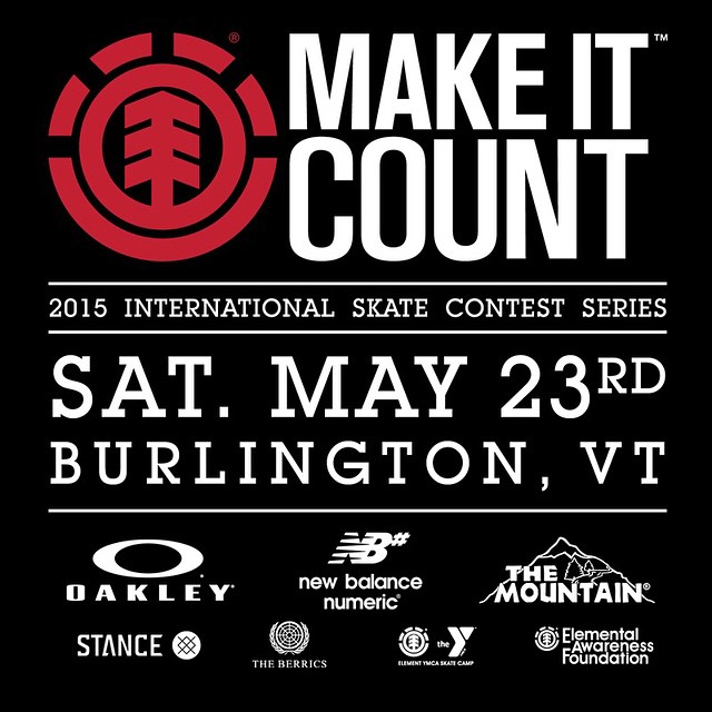 Saturday May 23rd, #elementmakeitcount Vermont at @talentskatepark! Come out for the chance to win an experience of a lifetime: a trip to California to skate The @berrics, @elementskatecamp, and a shot at Element sponsorship @elementmakeitcount