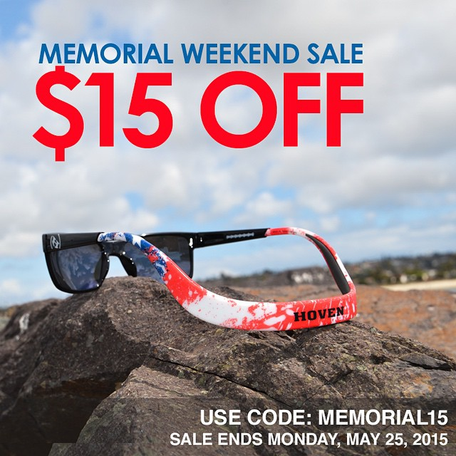 Take $15 off online orders of Hoven sunglasses all weekend. Want More?  Repost this image and tag 3 friends for your chance to win an American Flag Monix from our Argonaut Floatable Series (retail $139.99). Winner will be announced 5/26 at 11am...