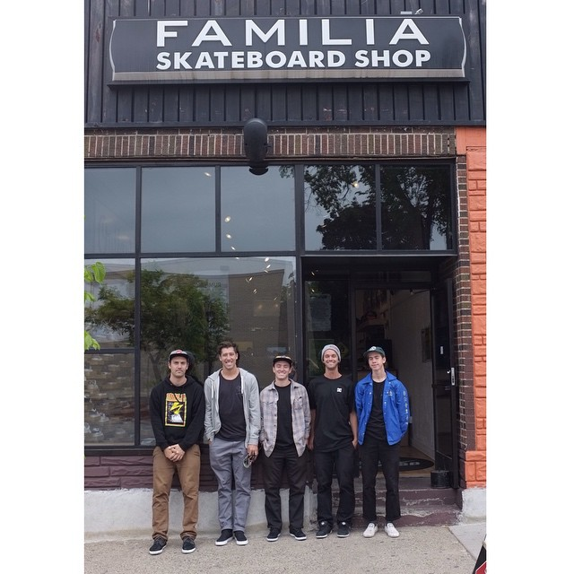 Big thanks to @familiask8shop in Minneapolis, MN for having us! If you're in the area come out and skate #FamiliaHQ with @mikeytaylor1, @davistorgerson, @mattmillerskate and @bobbydekeyzer at 2pm today! #DCShoes