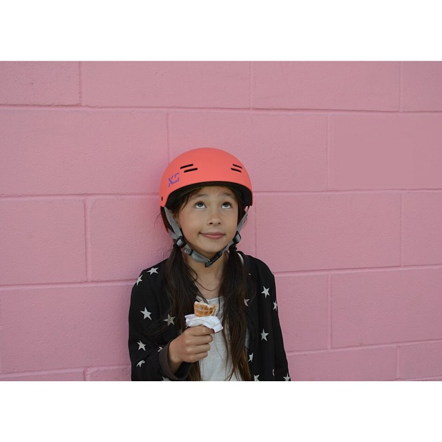 Spent the day yesterday shooting with this cutie. After tireless location scouting and some bike  riding in the afternoon sun, Lauren enjoys a well-deserved ice cream treat! #xskids #thekidhelmet #thekidisalright #kidshelmet #skatebikeboardski #xshelmets