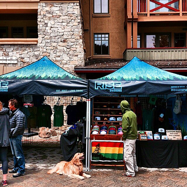 We're straight chillin up Squaw Village this weekend. Come say hello, grab some gear. We're also making some custom hats live on spot. #sunsout #RISEdesigns