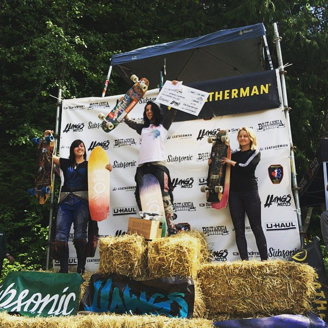YEAH!! @britanniadh Women's Podium! 1. @cocomarii  2. @vwaddington_skates  3. @kbeaaat  Awesome ladies!! Repost from @skateslate. @camdownhill photo.  #longboardgirlscrew #womensupportingwomen #girlswhoshred #skatelikeagirl #britanniadh...