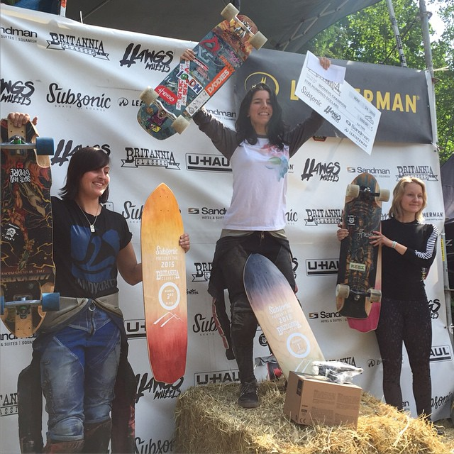 Congrats to XS team rider @cocomarii for her win at the #britanniaclassic this weekend!!! Ladies podium: 1. @cocomarii 2.Vwaddington_skates 3: kbeaaat Congrats ladies! #xshelmets #xsteam #downhill #longboard #longboardgirlscrew