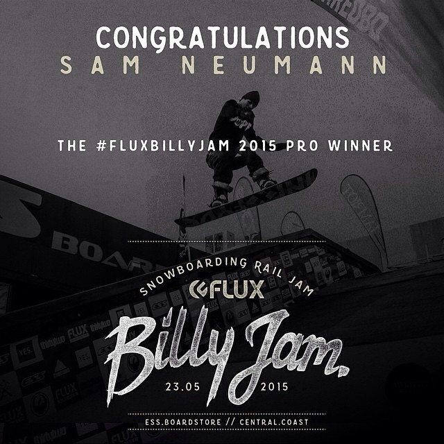 We'd like to shout out a big congratulations to the FLUX BILLY JAM 2015 pro division winner SAM NEUMANN (aka @red_d0g)! #essboardstore #fluxbillyjam #snowboarding #australia