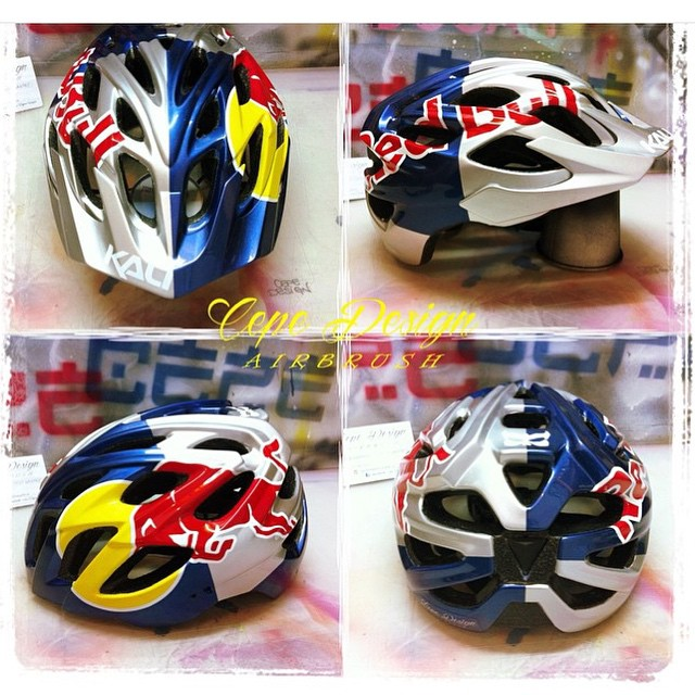 Check out the fresh new Kali Chakra helmet that @cepedesign_aerografie did up in Redbull colors!  Would you rock it?
