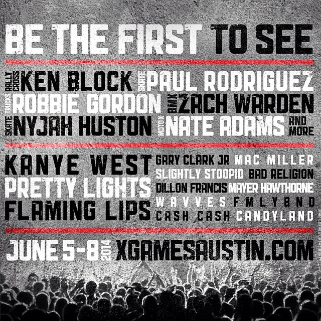 From Aspen to Austin! BIG NEWS. Tickets on sale this Friday. Here's the first look at the lineup! #xgames