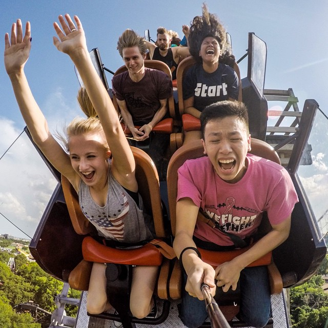 Photo of the Day! @peterwin97 captures the point of no return on the New Texas Giant with his HERO4 Black. #gopro #goprooftheday #rollercoaster #sixflags  Share your best summer photos with us by clicking the link in our profile.