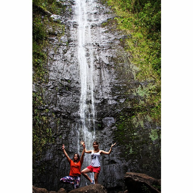 XS athletes @ameliabrodka and @huntahlong seek out deepest, darkest Hawaii for an impromptu yoga session #yoganerds #nature #beauty #friends #hike #yoga #getoutside