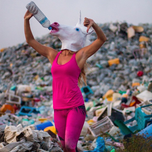 "Even Unicorns say ""Neeiigghhh"" to plastic!!! Hope to see you all at the premiere and party tomorrow night 7pm Patagonia Santa Monica! (7:30 film)  Photo by @hisarahlee tights made from bottles by @teekigram"