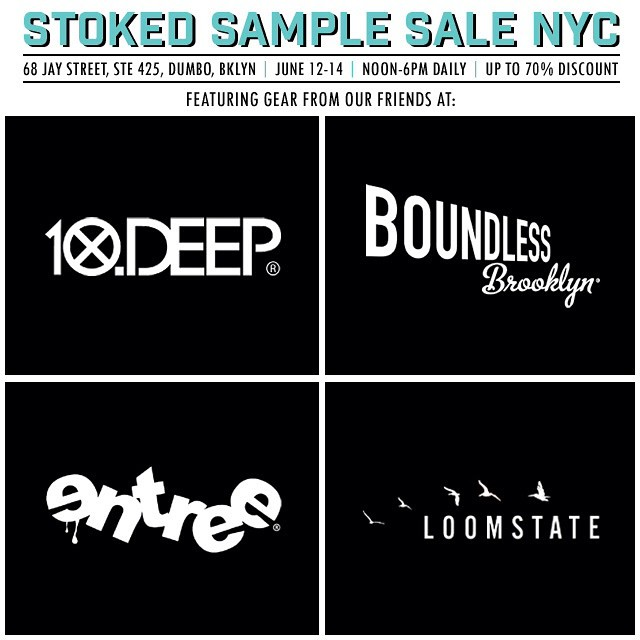 Gearing up for our #samplesale on June 12,13 & 14 with great items from @10deep @boundlessbrooklyn @entreels @loomstate_org and more! #shopping #sale #charity #benefit #discount #outdoors #gear #skate #surf #snow #food #drink #10deep #boundlessbrooklyn...