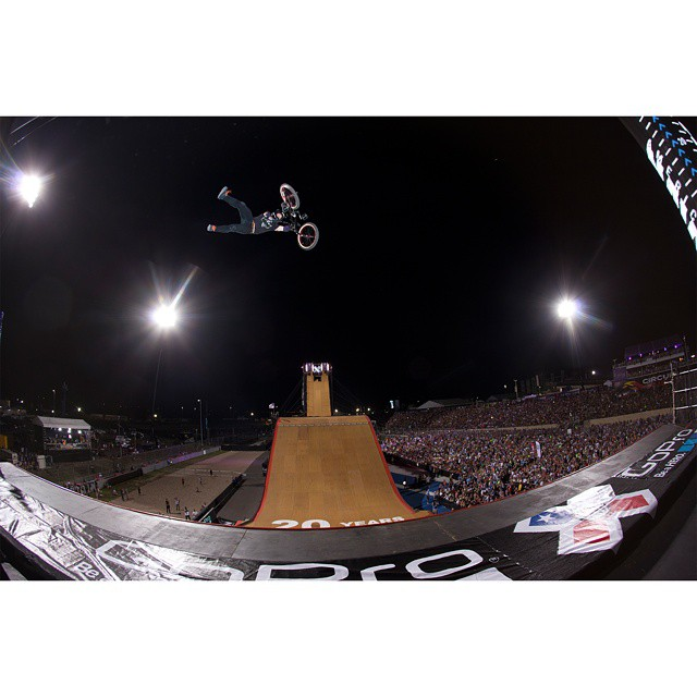 #TBT – @texasmwade ruptured his spleen and lost two liters of blood in 2011.  Last year, the Texan won #XGames BMX Big Air silver wearing the same t-shirt that doctors cut off of him three years earlier.