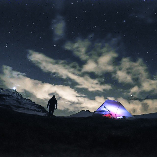 @djisupertramp sets up his bivy under the stars in the French Alps. Captured in Nightlapse Mode on the 3-Way Mount tripod. #GoPro #GoProTravel #Adventure #Alps #PhotoOfTheDay  Share your best night photos with us by clikcing the link in our profile.