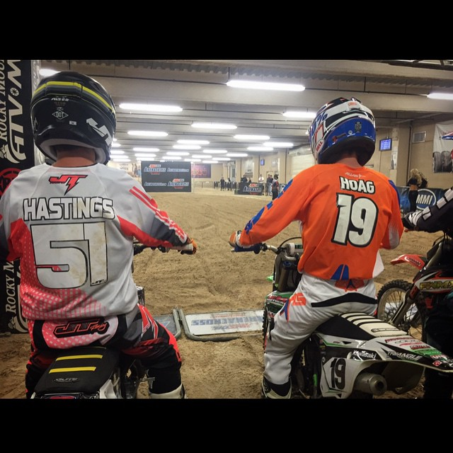 @ehastings51 and @blakehoag19 about to go at it at the @arenacross final in Vegas! #wolftrainingacademy @jtracingusa @ride100percent @ridedunlop @middletowncycle @aticlothing @braapsupply #vegas #trainhard #winhard #goodbyeblackhelmet #atifamily