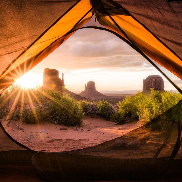 Monument Valley at sunrise. #GetOutStayOut  Photo: @nickomanphotography