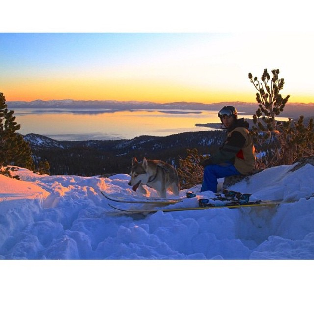 #tbt to wintery sunsets and skiing down in the dark #sisterhoodofshred