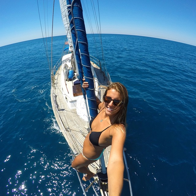 @hayread enjoying the cool breeze while sailing from Corsica to Italy. Haley and her dad went on an overnight sailing trip in the Tyrrehenian Sea. She captured this photo with her HERO4 Silver in 2 Second Time Lapse Mode using her 3-Way Mount. #GoPro...