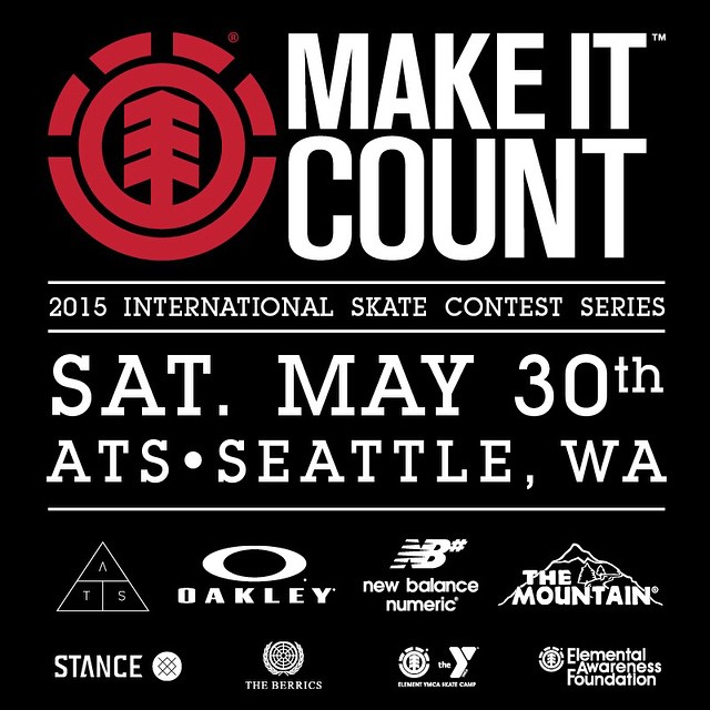 TOMORROW! Come out to the #ElementMakeItCount at @alltogetherskatepark in Seattle, Washington. Compete for the experience of a lifetime: A trip to The @berrics, @elementksatecamp, @nyjah's private skatepark, and a shot at #element Sponsorship!...