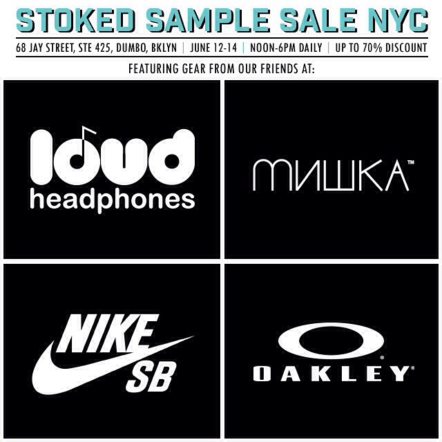 get some great gear from @loudheadphones @mishkagram @nikesb @oakley at the #stoked #samplesale on jun 12,13 & 14! #shopping #sales #nyc #brooklyn #dumbo #discounts #actionsports #outdoors #skate #surf #snow #loudheadphones #mishkanyc...