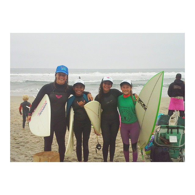These girls are the RADDEST! So stoked on surfing with these chicas between their heats! #YEW #luvsurf #surflikeagirl #shredlikeagirl
