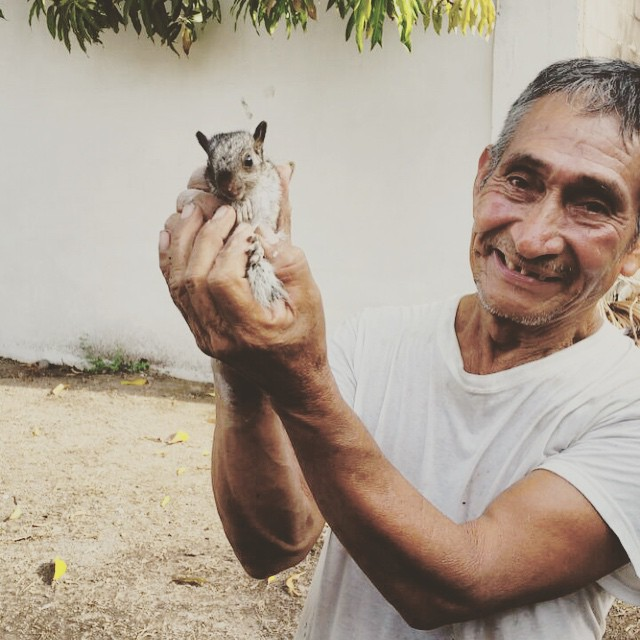 We made it to our house for the #ElSalvadorProject & the groundskeeper has a tamed squirrel - say hello to his little friend