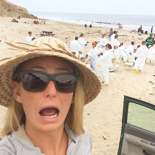 Get your hazmat suit on! We are going in!  #oilspill #SantaBarbaraOilSpill  It's kinda blowing my mind that that's are dozens of us in hazmat suits gathering on the beach, and families (tourists?) are still letting their kids play in the shoreline...