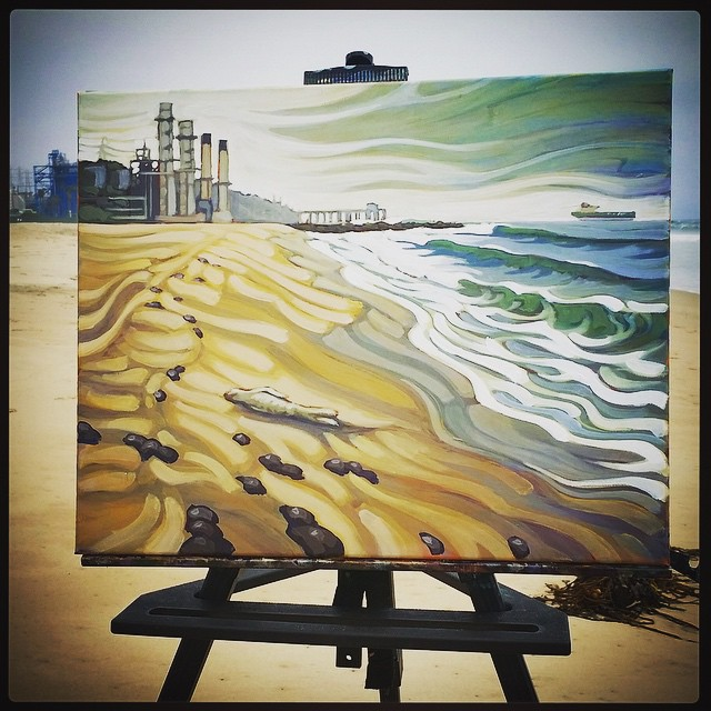 "Our buddy Matt @beardart is ""painting for purpose"" on his trip back home to the Humbolt coastline. --- He's stopping by to interpret the scene at a few of the places on the SoCal coast that have seen their beaches and waves closed, because of the..."