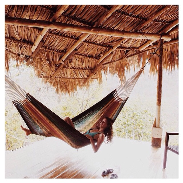 """After a morning of surf & yoga... now siesta time at @maderasvillage"""