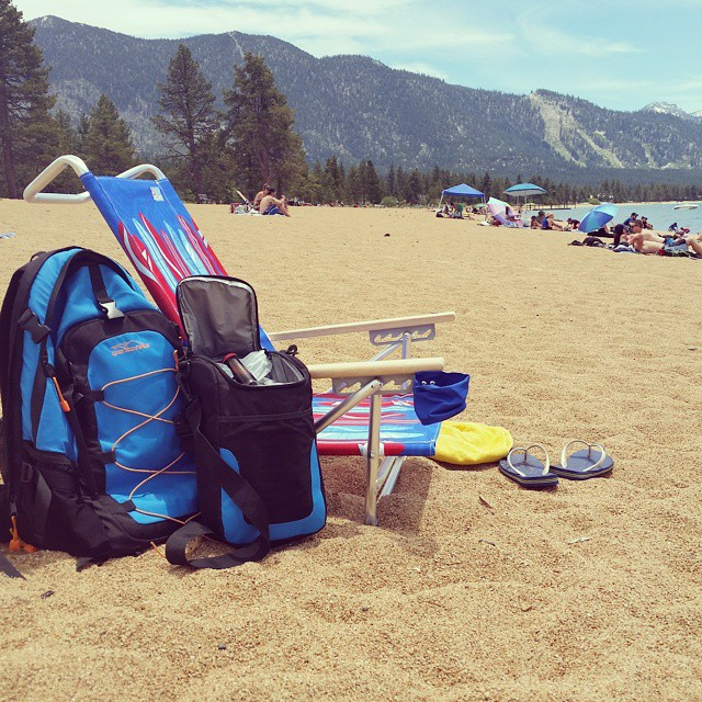 From the #trails to the #beach.  Another great #mtb ride this AM and now it's time to relax!  #laketahoe #getoutside #flumetrail #nevadabeach #tahoesouth #graniterocx #backpacks #coolers