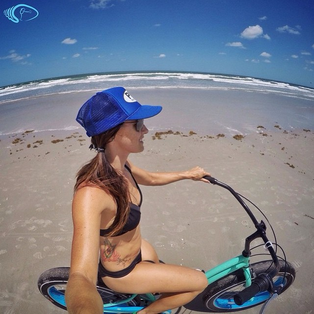 @waveofwellness beach cruising in Cocoa Beach on her awesome fat tire bike!