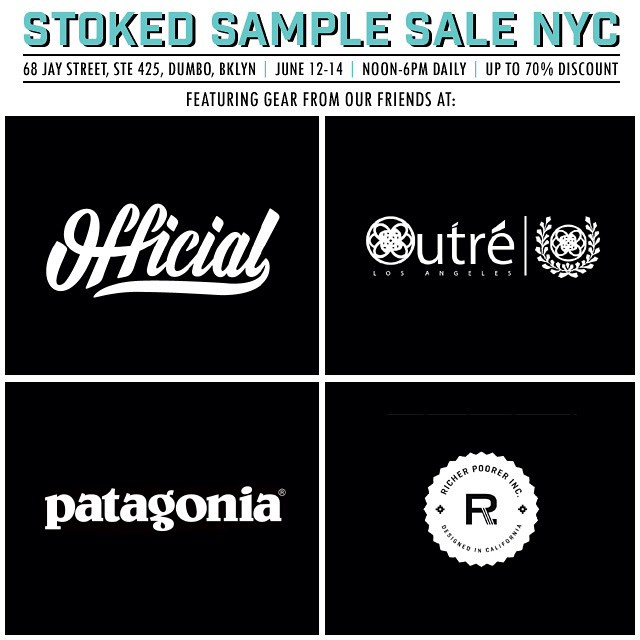 Stop by our sample sale June 12-14 to support stoked and get great discounted items from @official @outreapparel @patagonia @richerpoorer and more! #samplesale #shopping #sale #discounts #clothing #apparel #shoes #skate #surf #snowboarding...