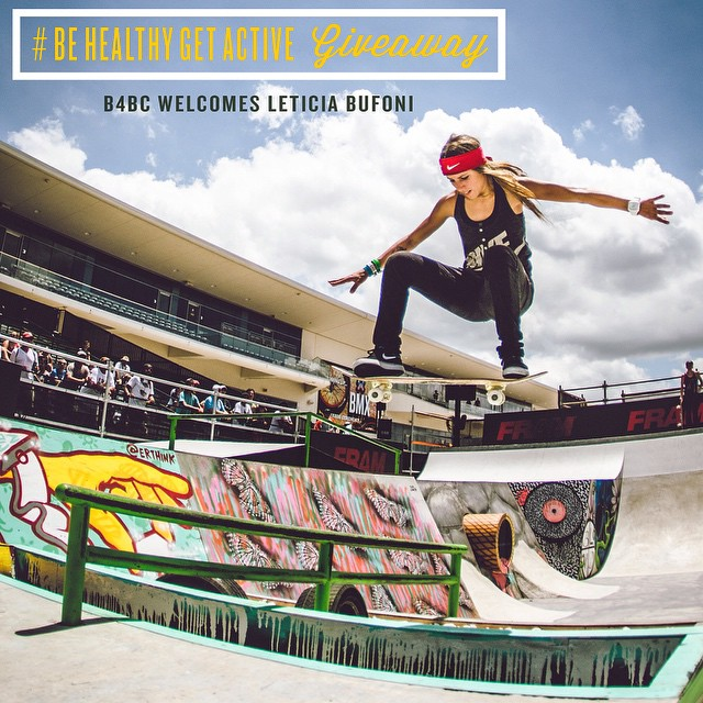 We are beyond stoked that skateboarding phenom @LeticiaBufoni has joined the B4BC #behealthygetactive ambassador team! To welcome her to #TeamB4BC this week leading up to X Games, we are doing a massive giveaway with her sponsors. Just follow the steps...