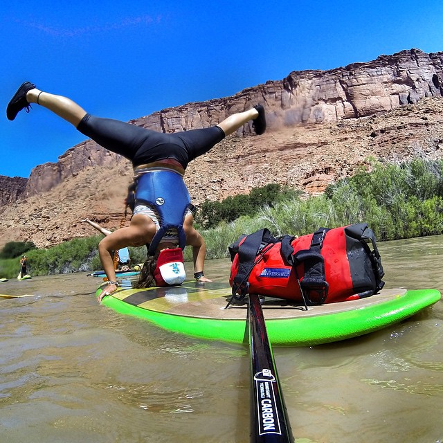 Back on the muddy waters of the Colorado River teaching riverguides how to sup and yoga