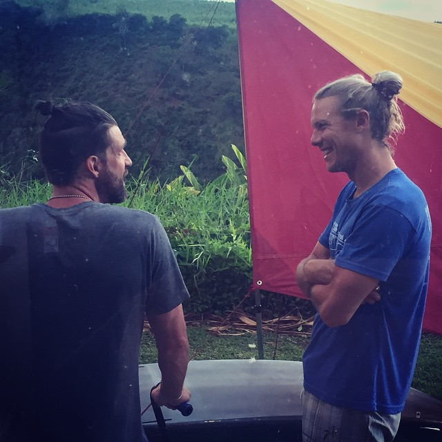 "...Just a couple casual bros (deep in a post-surf #ManBun bond), having a high-quality conversation about the existence of the deep-felt personal ""wow"" experienced via the ongoing bliss of what riding a #TLsurf WaveSki can giveth... Photo:..."