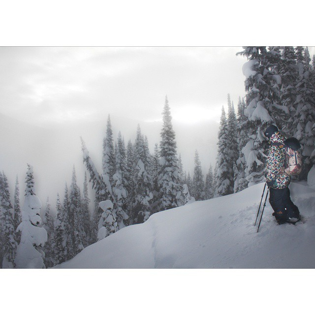 @wileymiller contemplating the drop. #shapingskiing