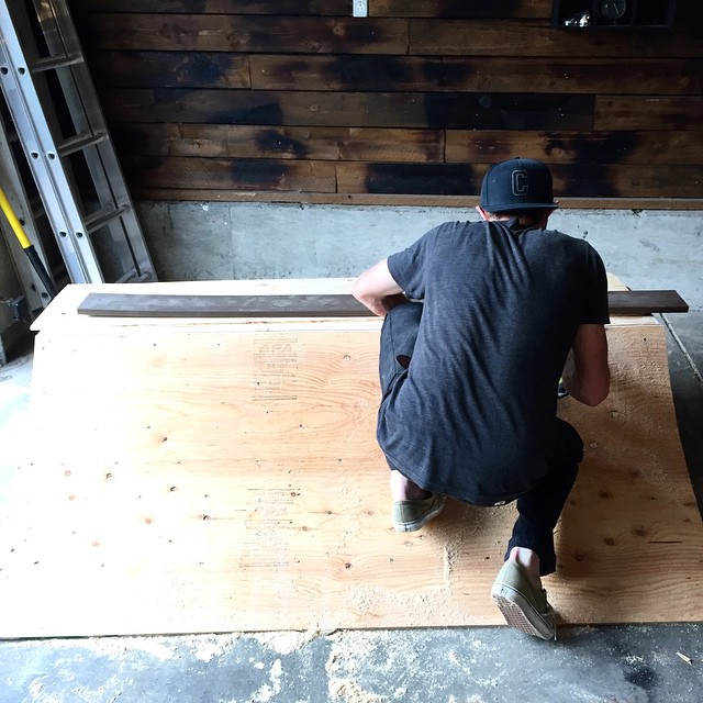 June kicked off with inclement weather in #PDX so @desireemelancon and @chipper_1896 built themselves a quarter pipe. #coalheadwear #diy