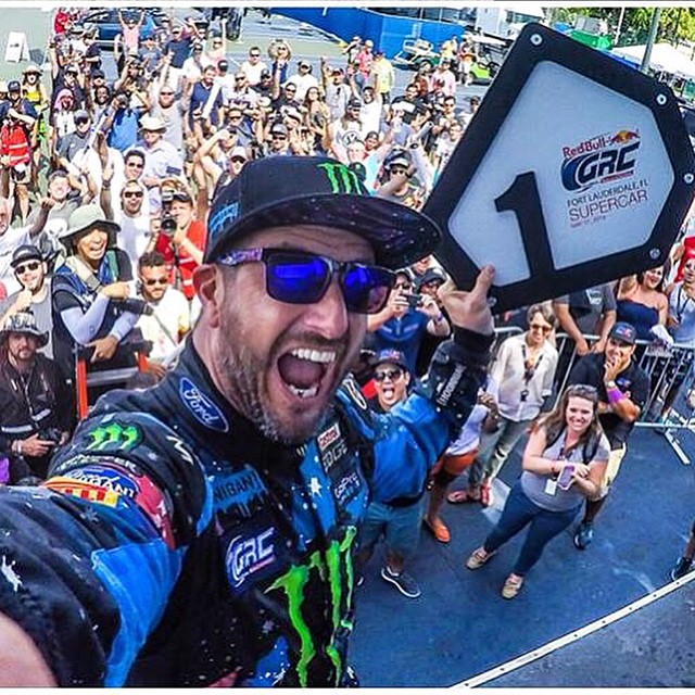 Nothing puts a smile on @kblock43's face like winning a #GlobalRallyCross race!  Shop #KenBlock's signature SPY series through the link in our profile.  #SEEHAPPY #HappyLens