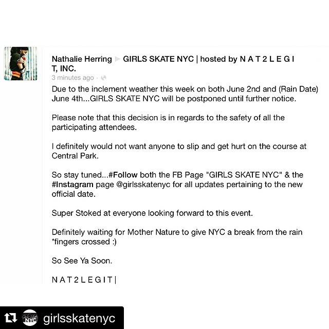 "#Repost @girlsskatenyc with @repostapp. ・・・ VERY IMPORTANT EVENT UPDATE!! Please feel free to email me at girlsskatenyc@gmail.com if you have any questions.  And if you haven't already follow our FB Page ""Girls Skate NYC"" for updates as I plan to..."