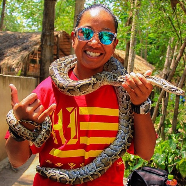 Nothing like wrapping a snake around your body while visiting Thailand