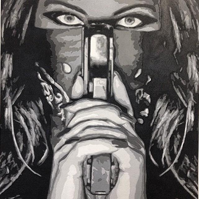 @sicinside51 • • #ATX #austintx #TEXAS #Tx #spratx #art #blackandwhite #girlandgun