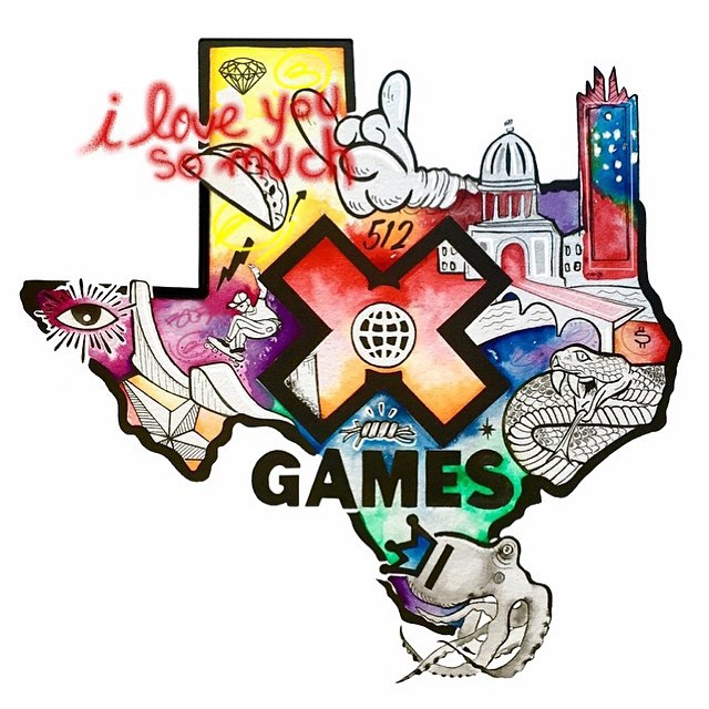 Shouts to the man, myth, and legend @_boza_ for landing us the official X Games/SpraTX Art print & T-shirt design! A little bit of everything TEXAS going on! Stay tuned for other X Games fun we will be announcing! • • Check out @_boza_  insta to peep...