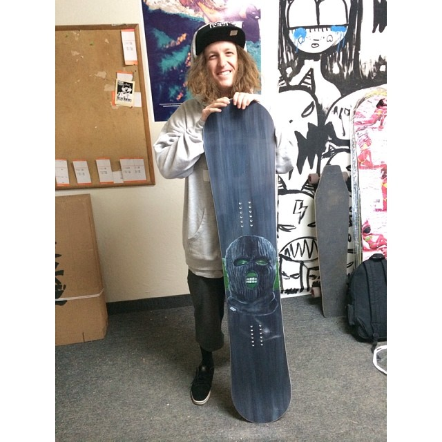 @matt_douglass swinging by the factory to check out his new signature @gbpgremlinz board - made and distributed by Smokin . He's fukin stoked in how it came out- Check it for yourself in Munich, Hermany at ISPO hall A1 booth 427 , or in Denver at #SIA...