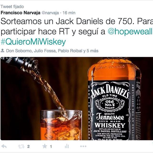 """Súmate a este súper sorteo! Envía """"@hopeweall + #QuieroMiWiskey"""" y ya estas participando!  Bonus Track: Haciendo #Repost sumas mas chances!"""