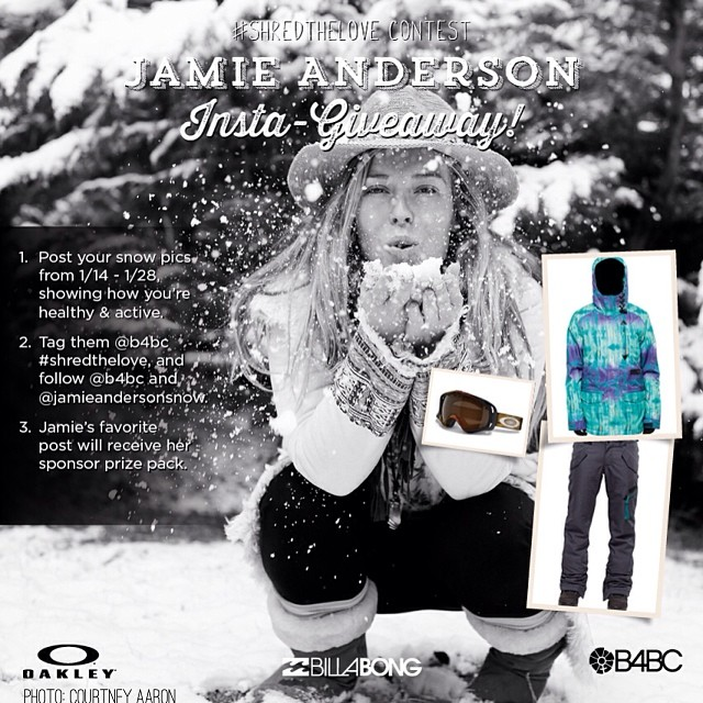 #SHREDTHELOVE Jamie Anderson Gear Giveaway!  Less than one week left to join the #ShredTheLove snow photo contest showing how you live healthy & active, and you could win Jamie's sponsor gear from @BillabongWomens and @Oakley!! Winner chosen on January...