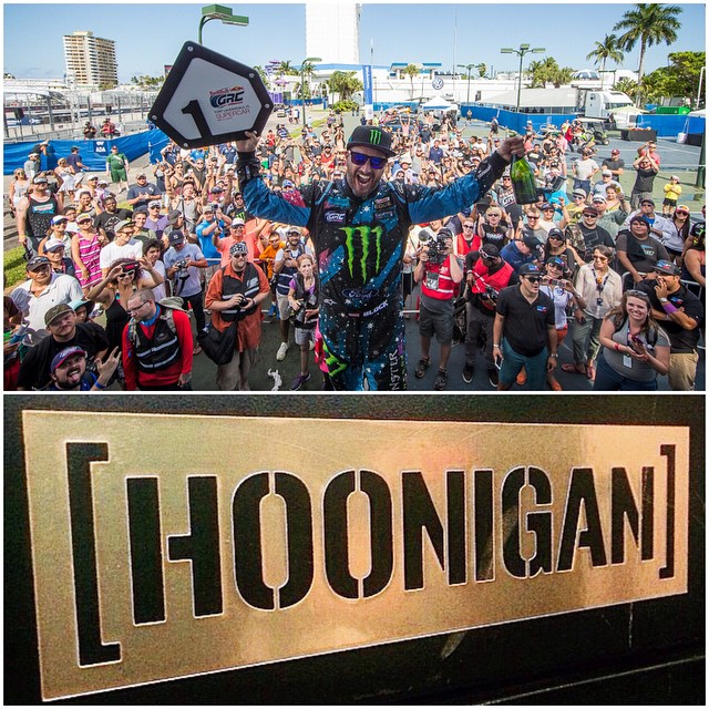 Because I won the first round of the Global Rallycross Championship yesterday, it's #GOLDSTICKERTIME! There are some new rules for getting a gold Hoonigan sticker, so read below. As always, when I win, you win. BUT, some things have changed. Only...