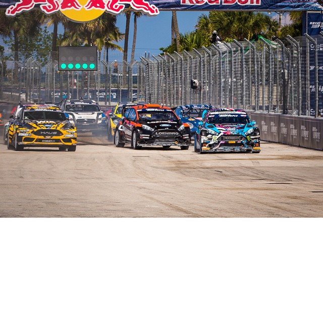 Leading 10 rallycross cars off the line during the GRC final here at the first race of the season in Ft. Lauderdale. Kinda sketchy trying to stuff 10 racecars into a tight first corner! Got away clean though, kept it tidy for 10 laps and ended up with...