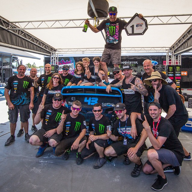 I'd like to give a BIG thank you to my @HooniganRacing team for all their hard work this weekend at (and leading up to) #GlobalRallycross Ft. Lauderdale. This first win in the first race of the GRC season is as much theirs as it is mine! #bestteamevar...