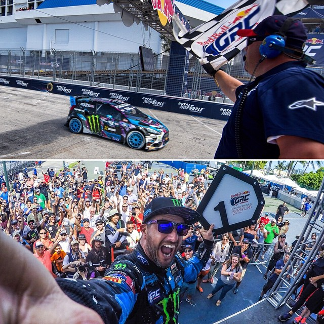Just WON the first race of the 2015 #GlobalRallycross season here in Ft. Lauderdale! Wow. Great start to the year!! Bottom photo shot with my @gopro #Hero4 camera. #goldstickertime