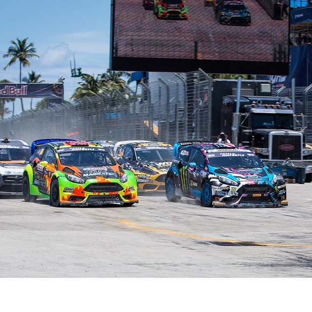 Just won my semi-final out here at #GlobalRallycross round 1 in Ft. Lauderdale! Stoked on this win because it means I'll be on pole position for the final, which starts in about an hour. Tune in to watch it live on NBC at 3pm EST. #fordsoutfront