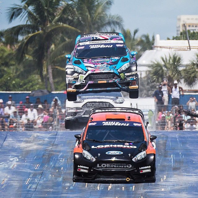 Just placed second in my second race heat (first race heat of the day) out here at #GlobalRallycross Ft. Lauderdale. Heading into the semifinal soon. Tune in at 3pm EST on NBC to watch the final LIVE! #bigyumps #beachday