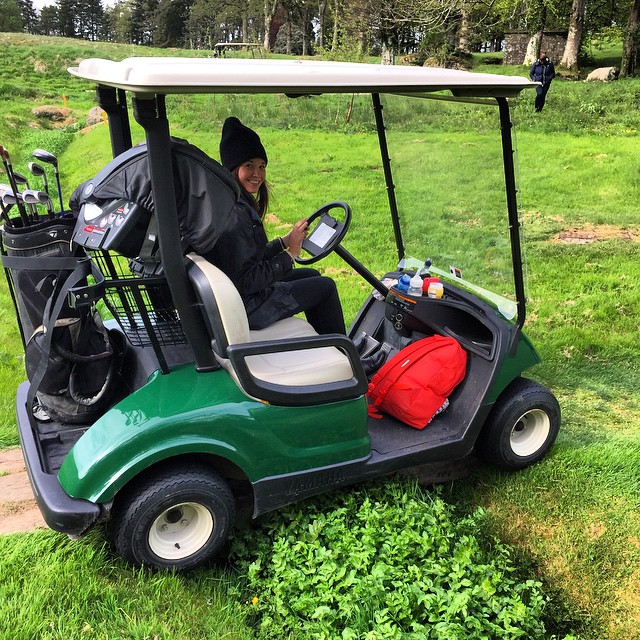 We managed to get this golf buggy stuck trying to get over a foot bridge that wasn't quite wide enough.  I suppose we should have taken the conventional buggy route but where would the fun be in that!! Who says Golf has to be boring?! @andreascanlan...